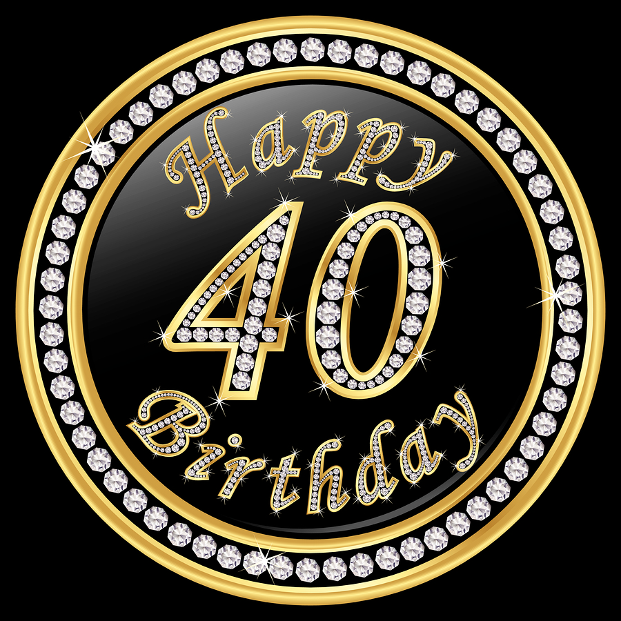 Happy 40th birthday happy birthday 40 years golden icon with diamonds vector illustration